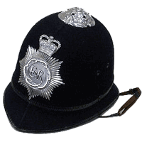 Policeman's helmet with new Puffbox-inspired badge