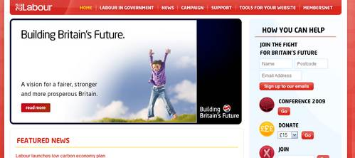 Labour Party homepage, Jul09