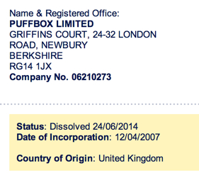 Companies House Puffbox dissolution